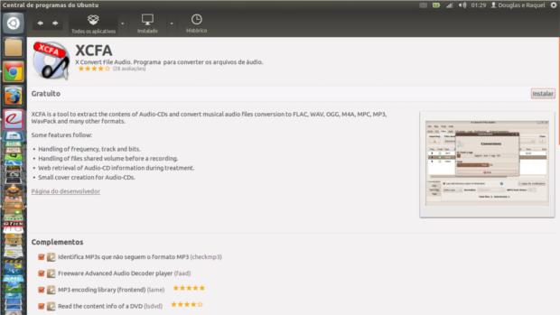 XFCA na Central de Programas do Ubuntu
