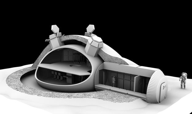 Projeto do interior da base lunar (Foto: Divulgação/ESA)