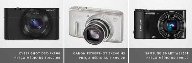 """Imagem de câmeras digitais compactas que possuem o modo """"foco manual"""" (Foto: Divulgação)"""