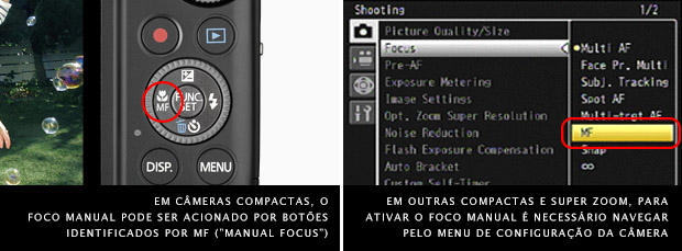 Imagem de uma câmera digital compacta com destaque para o botão MF, à esquerda, e menu de seleção do tipo de foco à direita (Foto: Divulgação)