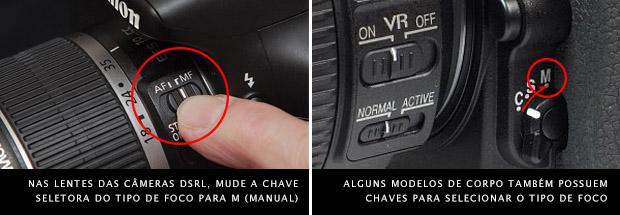 Imagem da chave seletora de foco configurada no modo manual em lente, à esquerda, e no corpo de câmera DSRL, à direita (Foto: Divulgação)
