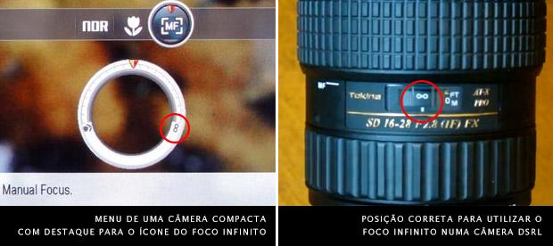 Imagem da tela de ajuste de foco, à esquerda, e lente ajustada no modo foco infinito, à direita (Foto: Reprodução/Photo Review e PhotographersOnUTube)