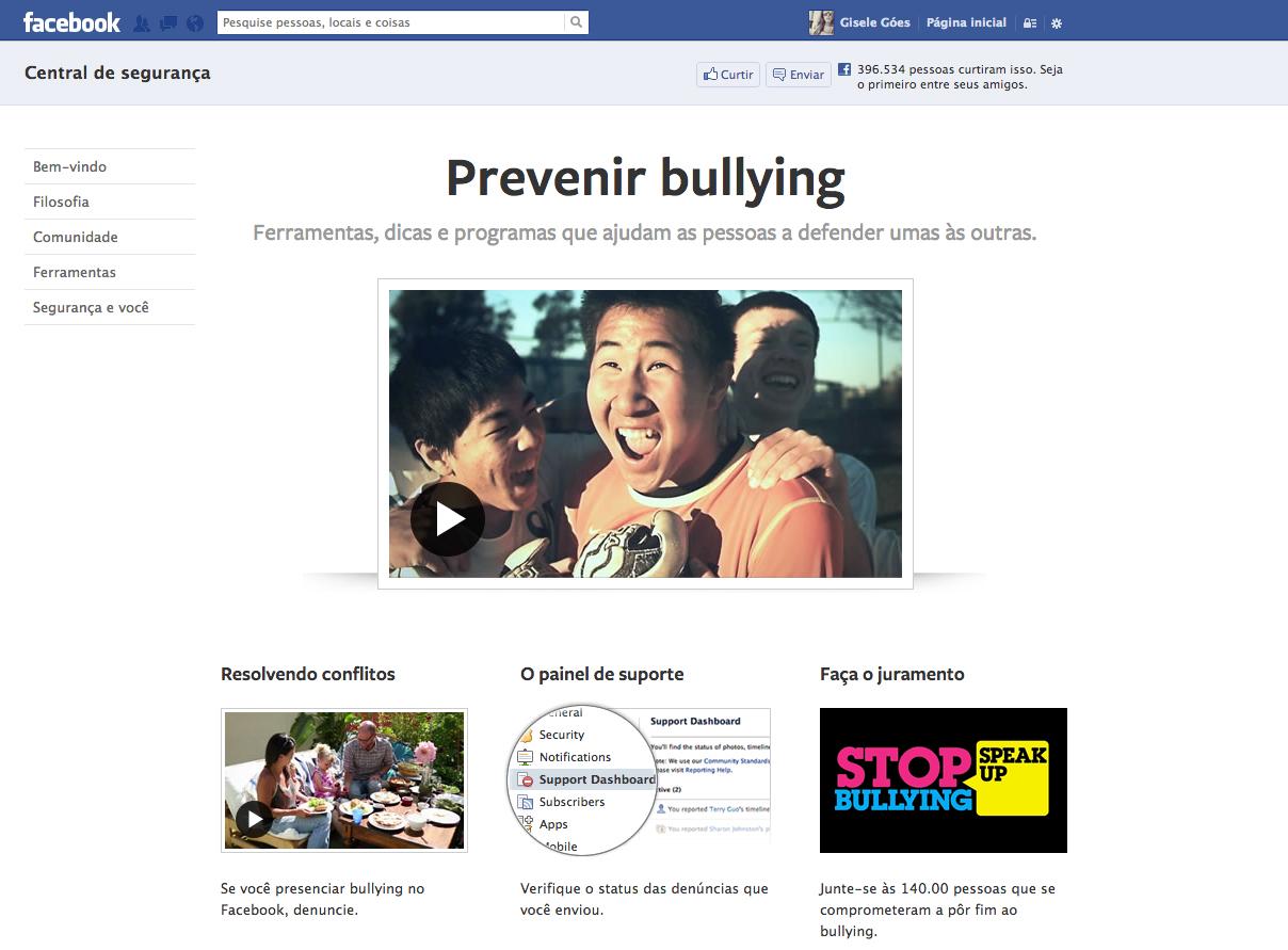 Facebook lança página contra o bullying na internet. (Foto: Reprodução / Gisele Góes)
