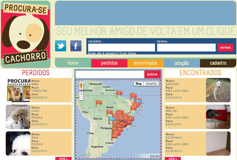Rede social centraliza informações de cães achados e perdidos em mapa (Foto: Reprodução/Procura-se Cachorro)