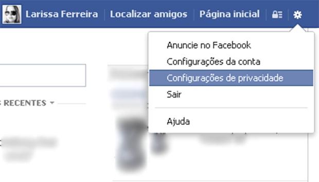 """Acesse as """"Configurações de privacidade"""""""