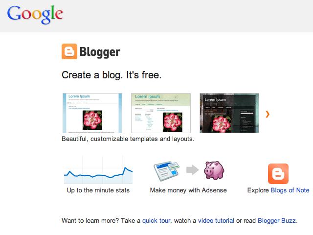 Plataforma de blogs adquirida pelo Google. (Foto: Reprodução / Blogger)