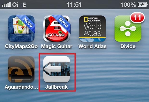 """Toque no ícone """"Jailbreak"""" para o programa continuar o processo (Foto: Reprodução/Edivaldo Brito)"""