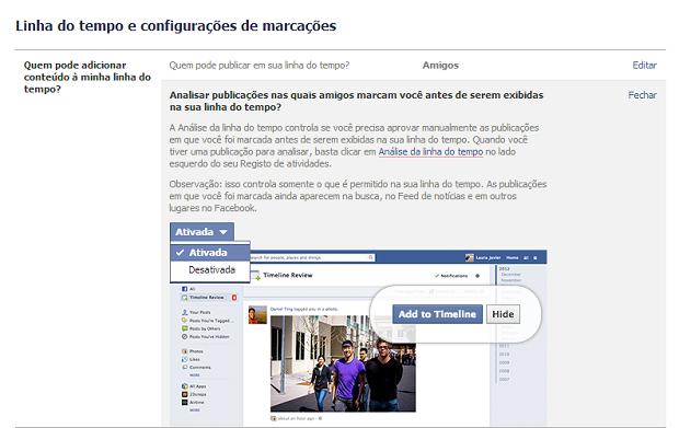 Ativar a análise de marcações em posts e fotos aumenta a privacidade no Facebook (Foto: Reprodução / Facebook)