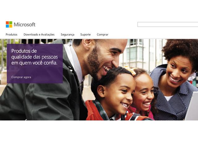 Site com informações, atualizações e produtos da Microsoft (Foto: Reprodução / Microsoft)