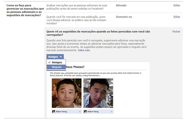 O usuário pode editar as configurações do Facebook e evitar o reconhecimento facial por dados biométricos (Foto: Reprodução / Facebook)