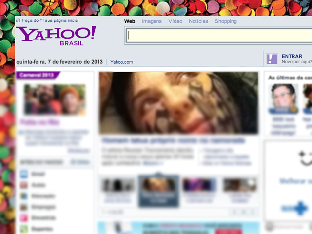 Yahoo oferece notícias e dá acesso a outros serviços da empresa como Flickr o Yahoo Mail. (Foto: Reprodução / Yahoo)
