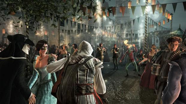 Ezio invade uma festa de carnaval italiana em Assassin's Creed (Foto: Divulgação)