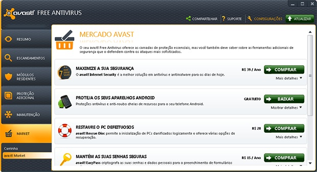 """Clique na opção """"Configurações"""""""