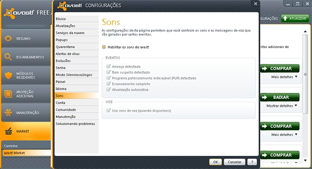 Desabilitando os sons do Avast