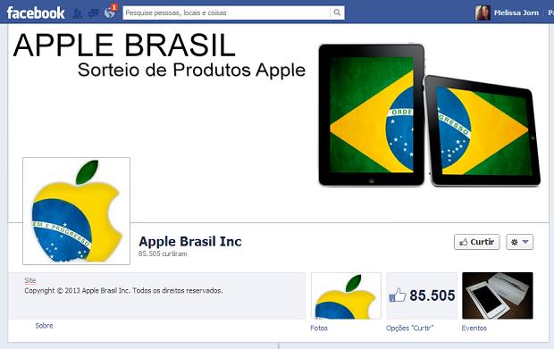 Página falsa no Facebook sugere curtir e compartilhar conteúdo para ganhar iPhones 5 de graça (Foto: Reprodução / Melissa Cruz)