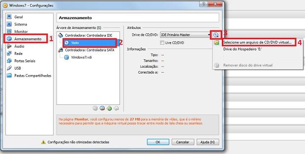 Adicionando uma imagem ISO na máquina virtual (Foto: Reprodução/Edivaldo Brito)