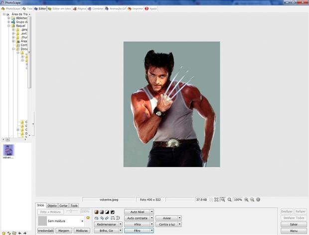 Tela inicial do Photoscape com foto carregada (Foto: Reprodução/Raquel Freire)
