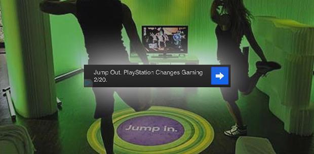 """""""Pule fora (Jump Out). O PlayStation muda os videogames em 20 de fevereiro"""" (Foto: Super PolyPixel)"""