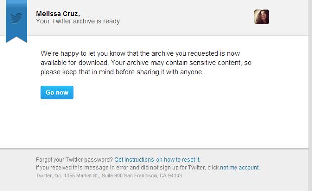 E-mail enviado pelo Twitter com link para download dos tweets (Foto: Reprodução / Melissa Cruz)