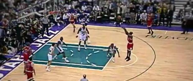 MJ fazendo cesta contra Utah lidera a lista dos 50 grandes momentos do craque (Foto: Reprodução/YouTube)