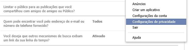 Opção de notificação está na aba de configuraçoes de privacidade (Foto: Reprodução Thiago Barros)