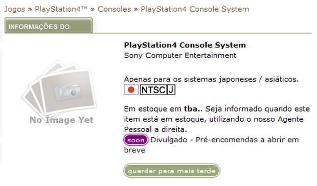 Loja asiática já começou a vender o PS4 (Foto: Reprodução/Play-Asia)