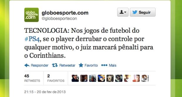 @globoesportecon (Foto: Reprodução/Twitter)