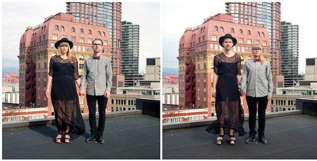 Modelos posam no alto de um prédio em Vancouver (Foto: Reprodução/ Hana Pesut)