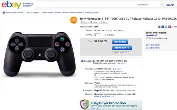Sites como o eBay já vendem o PS4 de forma não ofical (Foto: Reprodução)