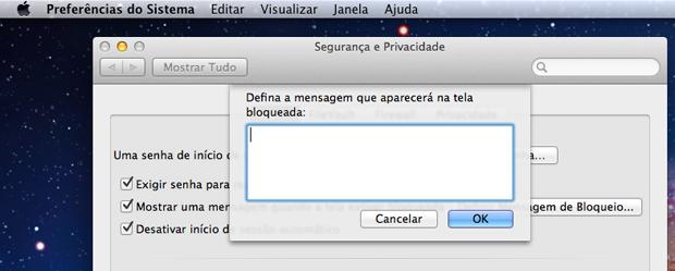 Escolha uma mensagem pra ser exibida na tela de bloqueio