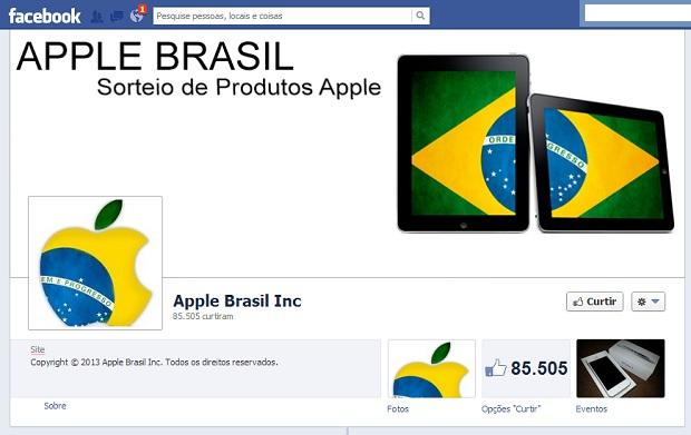 Página falsa no Facebook sugere curtir e compartilhar conteúdo para ganhar iPhones 5 de graça  (Foto: Reprodução/Melissa Cruz)