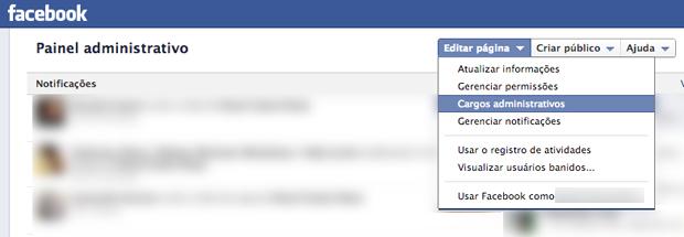 Acesse as opções administrativas pelo painel da sua página (Foto: Acesse as opções administrativas pelo painel da sua página)