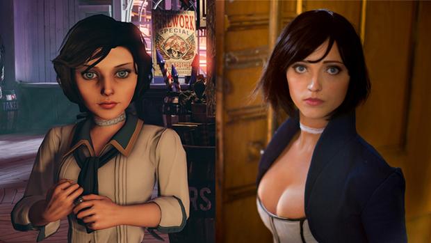 Elizabeth em seu visual mais comportado (esquerda) e com o novo design encarnado pela cosplayer Anna Moleva (direita) (Foto: ingamestories.com / Anna Moleva)
