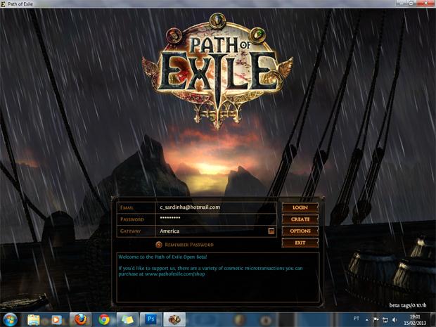 Fazendo login no game (Foto Reprodução Claudia Sardinha)