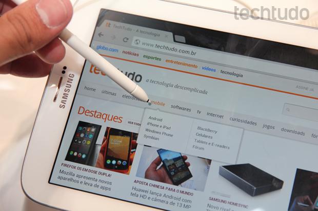 O Galaxy Note 8 é a nova aposta da Samsung para concorrer com o iPad Mini (Foto: Allan Melo/TechTudo)