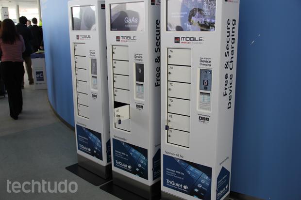 Máquinas de carregamento garantem segurança e energia para os gadgets dos participipantes (Foto: Fabrício Vitorino/TechTudo)