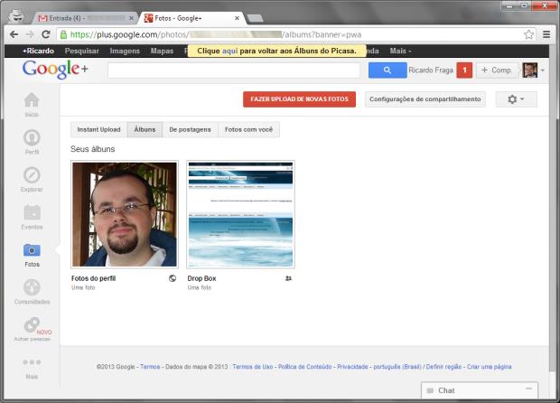 Aviso ainda permite que usuários voltem ao Picasa web (Foto: Reprodução/Ricardo Fraga)