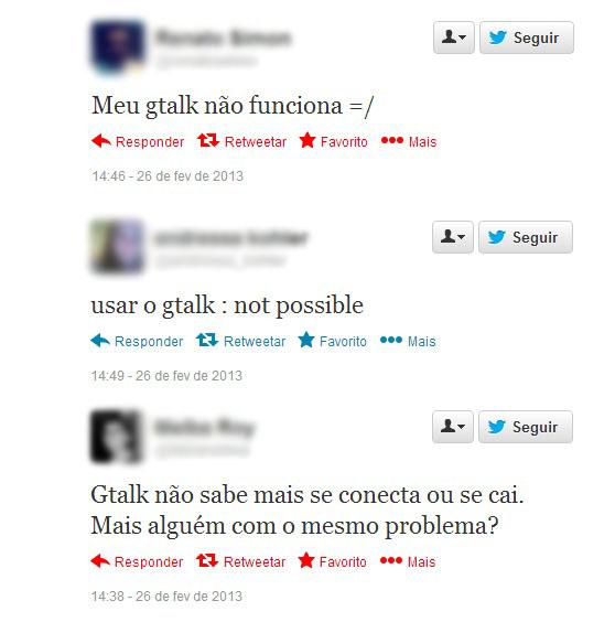 Usuários reclamaram da instabilidade do serviço no Twitter (Foto: Reprodução/Ricardo Fraga)