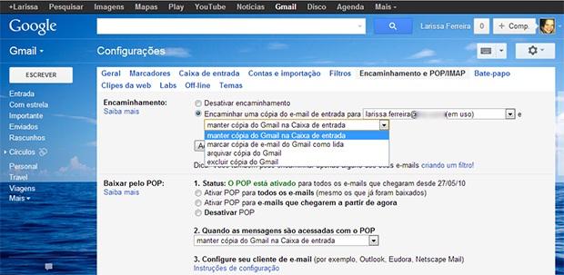 """Selecione a opção """"Encaminhar uma cópia do e-mail de entrada para"""" (Foto: Reprodução)"""