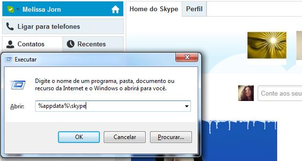 Em executar, procure por pastas do Skype em seu computador (Foto: Reprodução / Melissa Cruz)