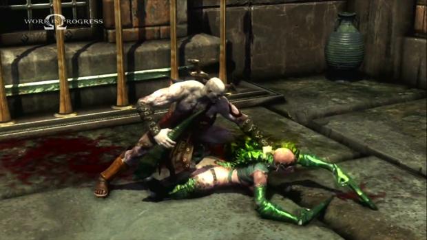 A acrobática Empusa encontra seu fim nas mãos de Kratos (Foto: Divulgação)