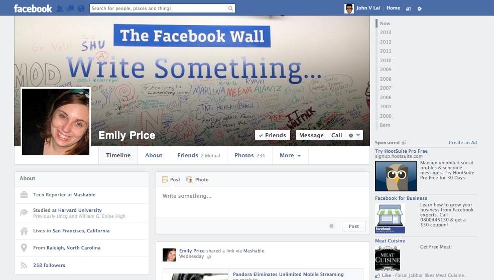 Nova linha do tempo de uma usuária do Facebook (Foto: Reprodução