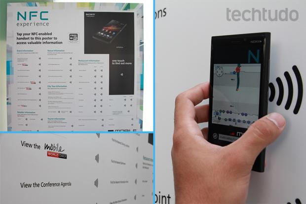 Usuários obtem informações da feira somente aproximando o celular do pôster (Foto: Allan Melo/TechTudo)