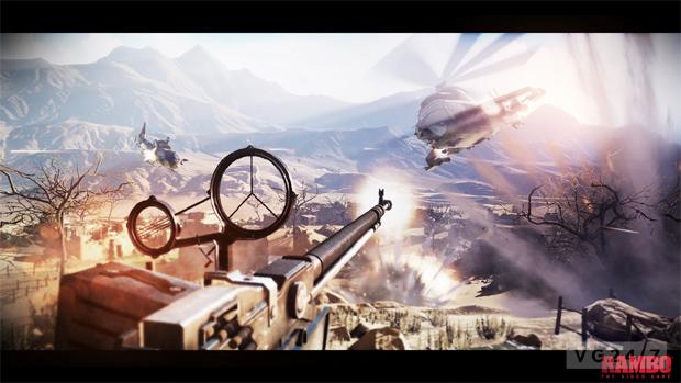 Rambo defende o acampamento do ataque de um helicóptero inimigo (Foto: VG247)