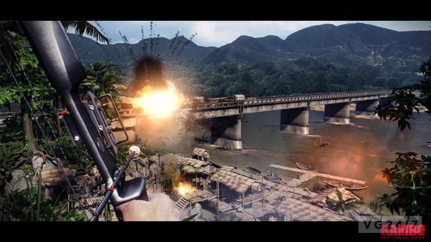 Para destruir uma vila inimiga, Rambo começa pela ponte de onde vêm os reforços (Foto: VG247)