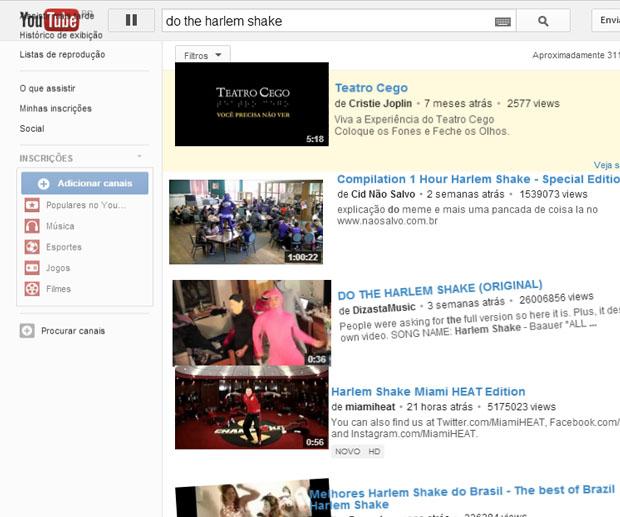 Página do YouTube dança o Harlem Shake (Foto: Reprodução/ Mariana Coutinho)
