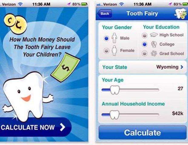 Aplicativo da Fada do Dente calcula quanto seus filhos devem deixar para a entidade (Reprodução|Oddee)