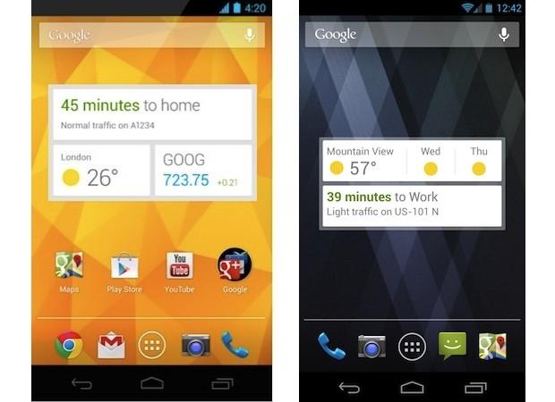 Widget do Google Now na tela inicial do Android (Foto: Reprodução/Engadget)