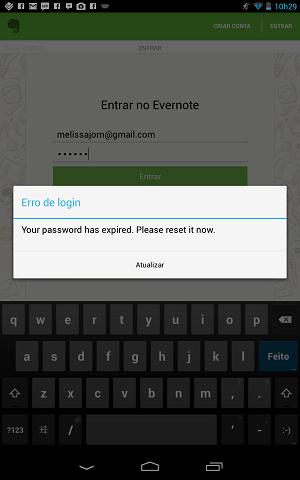Evernote para Android informa que senha foi expirada após ataque hacker (Foto: Reprodução/ Evernote)