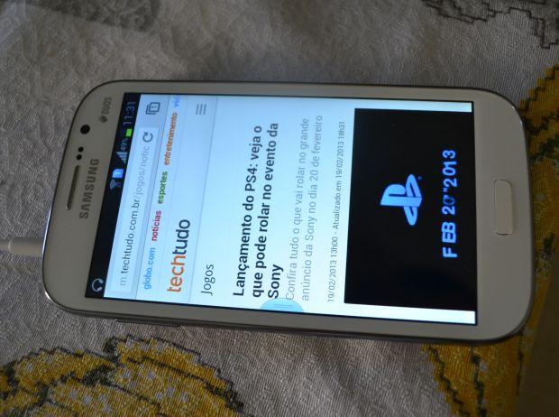 Acessando o site TechTudo no Galaxy Gran Duos (TechTudo|Pedro Zambarda) (Foto: Acessando o site TechTudo no Galaxy Gran Duos (TechTudo|Pedro Zambarda))